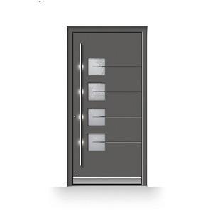 Moderne Haustür aus Glas mit Außengriff LED-Beleuchtung und Fingerscan